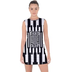 Black Stripes Endless Window Lace Up Front Bodycon Dress