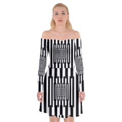 Black Stripes Endless Window Off Shoulder Skater Dress