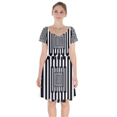 Black Stripes Endless Window Short Sleeve Bardot Dress