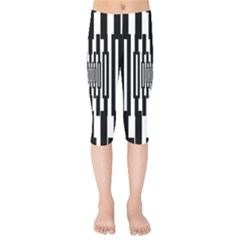 Black Stripes Endless Window Kids  Capri Leggings