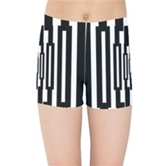 Black Stripes Endless Window Kids Sports Shorts