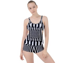 Black Stripes Endless Window Boyleg Tankini Set