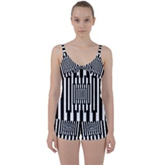 Black Stripes Endless Window Tie Front Two Piece Tankini