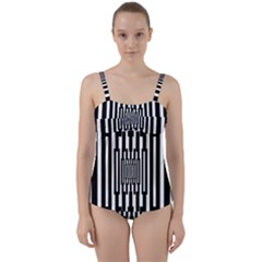 Black Stripes Endless Window Twist Front Tankini Set