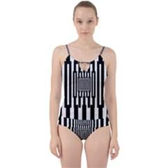 Black Stripes Endless Window Cut Out Top Tankini Set