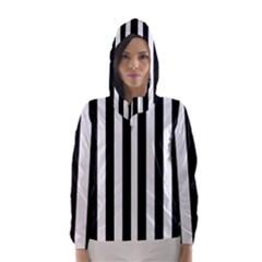 Black And White Stripes Hooded Wind Breaker (women)