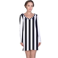Black And White Stripes Long Sleeve Nightdress