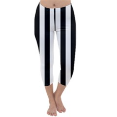 Black And White Stripes Capri Winter Leggings