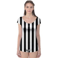 Black And White Stripes Boyleg Leotard
