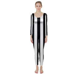 Black And White Stripes Long Sleeve Catsuit