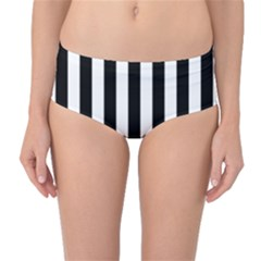 Black And White Stripes Mid Waist Bikini Bottoms