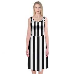 Black And White Stripes Midi Sleeveless Dress