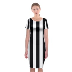 Black And White Stripes Classic Short Sleeve Midi Dress