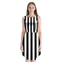 Black And White Stripes Sleeveless Chiffon Dress