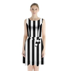 Black And White Stripes Sleeveless Waist Tie Chiffon Dress