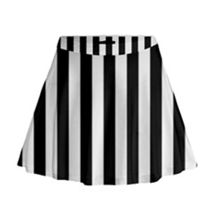 Black And White Stripes Mini Flare Skirt