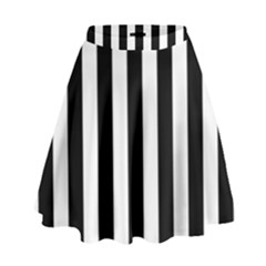 Black And White Stripes High Waist Skirt