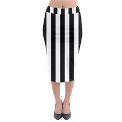 Black And White Stripes Midi Pencil Skirt