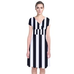 Black And White Stripes Short Sleeve Front Wrap Dress
