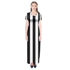 Black And White Stripes Short Sleeve Maxi Dress