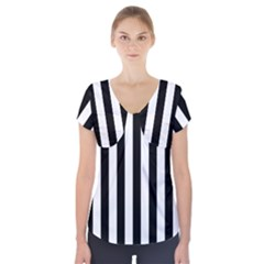 Black And White Stripes Short Sleeve Front Detail Top