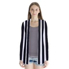 Black And White Stripes Drape Collar Cardigan
