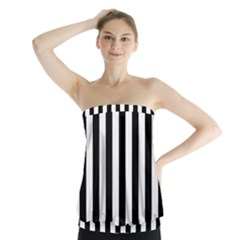 Black And White Stripes Strapless Top