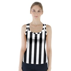 Black And White Stripes Racer Back Sports Top
