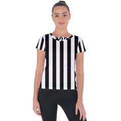 Black And White Stripes Short Sleeve Sports Top