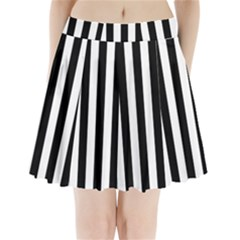Black And White Stripes Pleated Mini Skirt