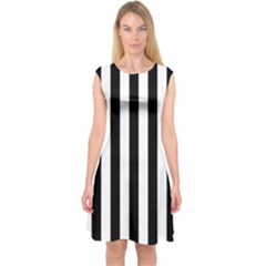 Black And White Stripes Capsleeve Midi Dress