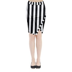 Black And White Stripes Midi Wrap Pencil Skirt