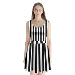 Black And White Stripes Split Back Mini Dress