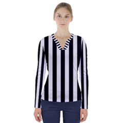 Black And White Stripes V Neck Long Sleeve Top