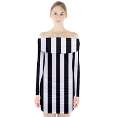 Black And White Stripes Long Sleeve Off Shoulder Dress