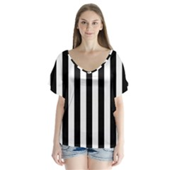 Black And White Stripes Flutter Sleeve Top