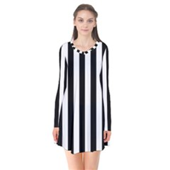 Black And White Stripes Flare Dress