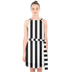 Black And White Stripes Halter Collar Waist Tie Chiffon Dress