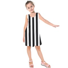 Black And White Stripes Kids  Sleeveless Dress