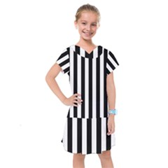 Black And White Stripes Kids  Drop Waist Dress