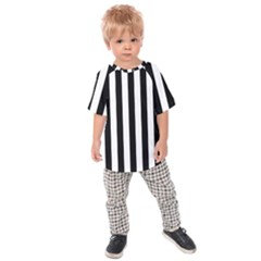 Black And White Stripes Kids Raglan Tee