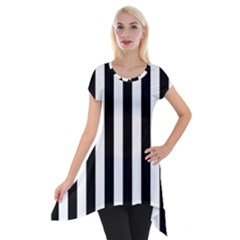 Black And White Stripes Short Sleeve Side Drop Tunic