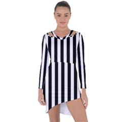 Black And White Stripes Asymmetric Cut Out Shift Dress