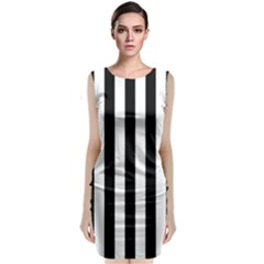 Black And White Stripes Sleeveless Velvet Midi Dress