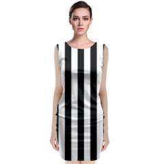 Black And White Stripes Sleeveless Velvet Midi Dress