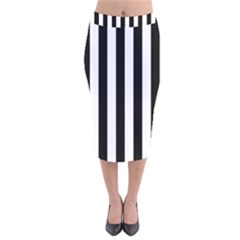 Black And White Stripes Velvet Midi Pencil Skirt