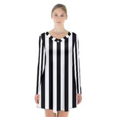 Black And White Stripes Long Sleeve Velvet V Neck Dress