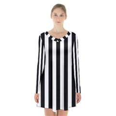 Black And White Stripes Long Sleeve Velvet V Neck Dress