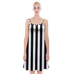 Black And White Stripes Spaghetti Strap Velvet Dress