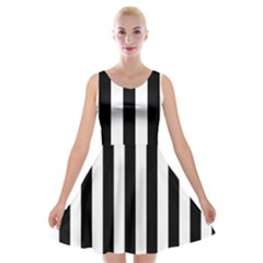 Black And White Stripes Velvet Skater Dress